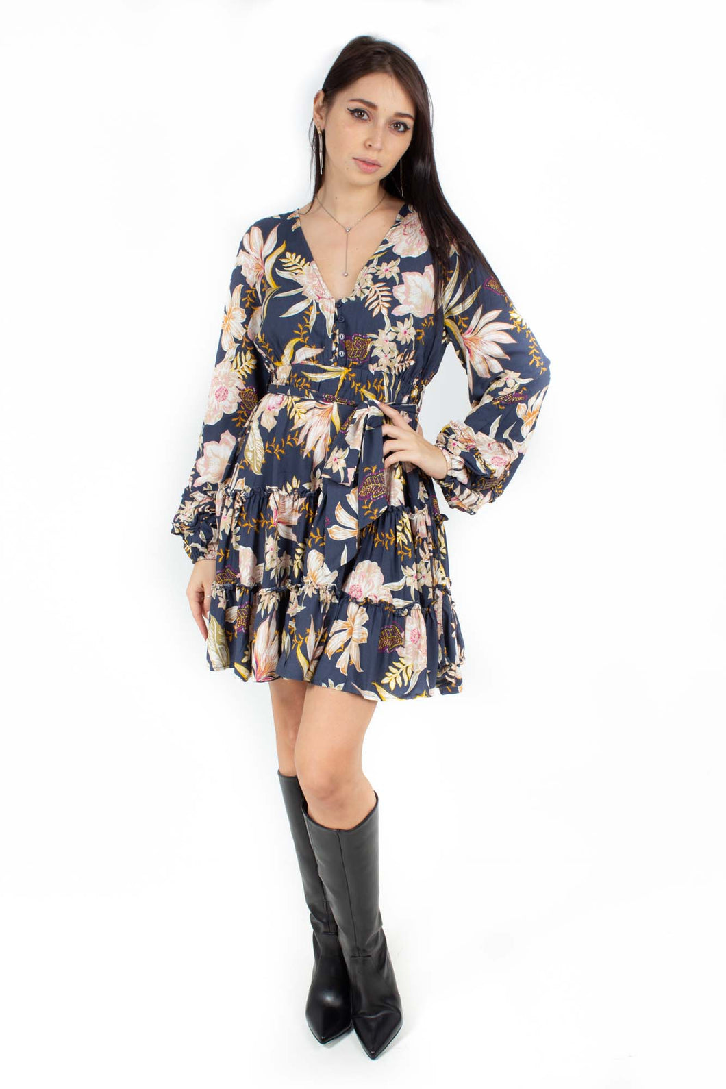 BLOOM PRINT CAPRIO MINI DRESS