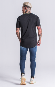 BLACK TEE WITH WHITE PIPPING