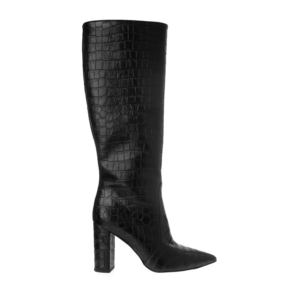 CROCO LOOK KNEE HIGH BOOTS