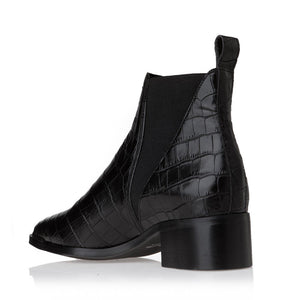 CROCO LEATHER ANKLE BOOTS