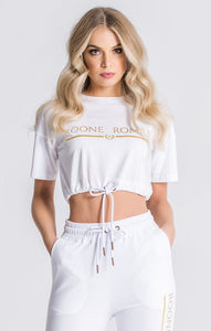 WHITE CORE RR CROPPED TEE