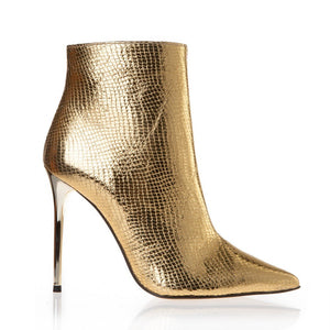 METALLIC SNAKE LOOK ANKLE BOOTS