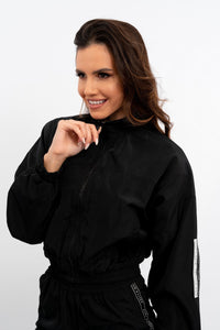 BONDED NYLON CROP JACKET