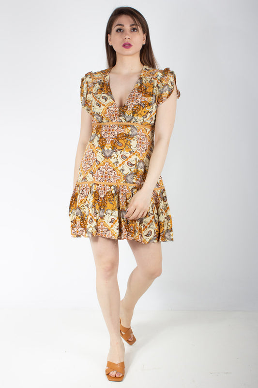 GOLDEN GLOW PRINT ALEXIS DRESS 2019602NS-0610