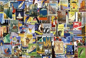 Wizard+Genius Vintage Travel Poster Vlies Fototapete 384x260cm 8-bahnen | Yourdecoration.de