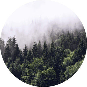 Wizard+Genius Foggy Forest Vlies Fototapete 140x140cm rund | Yourdecoration.de