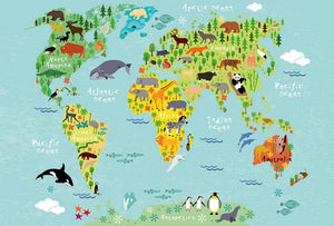 Wizard+Genius Kids World Map Animals Vlies Fototapete 384x260cm 8-bahnen | Yourdecoration.de