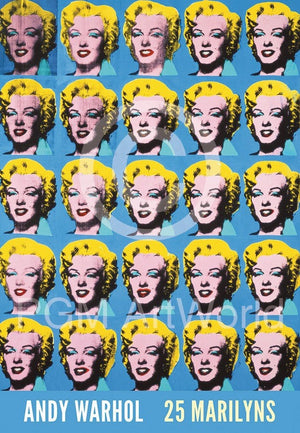 Andy Warhol - 25 Colored Marilyns Kunstdruck 45x65cm | Yourdecoration.de