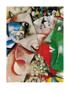 Marc Chagall - I and the village, 1911 Kunstdruck 60x80cm | Yourdecoration.de