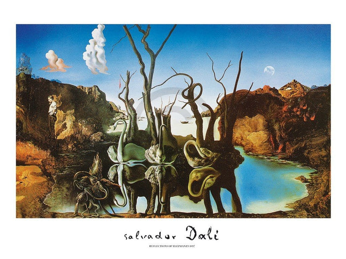 Salvador Dali - Reflections of Elephants Kunstdruck 80x60cm