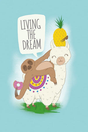 Pyramid Living the Dream Llama and Sloth Poster 61x91,5cm | Yourdecoration.de