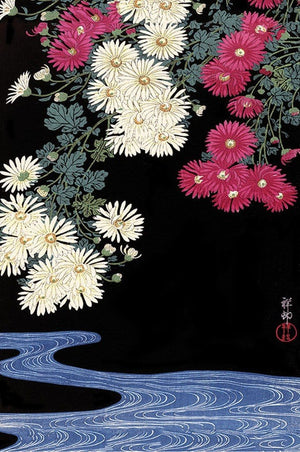 Pyramid Ohara Koson Chrysanthemum and Running Water Poster 61x91,5cm | Yourdecoration.de