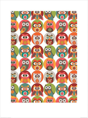 Pyramid Valentina Ramos Owls Family Kunstdruck 60x80cm | Yourdecoration.de