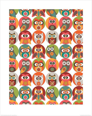 Pyramid Valentina Ramos Owls Family Kunstdruck 40x50cm | Yourdecoration.de