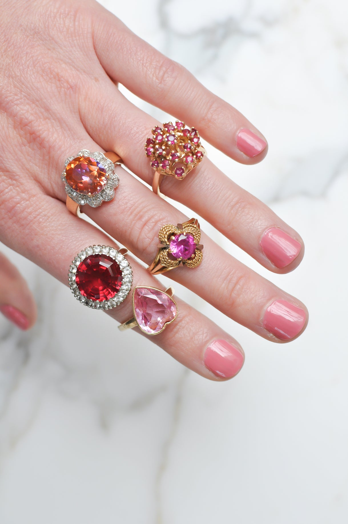 Fine Vintage Cocktail Rings in Pink And Red Colors