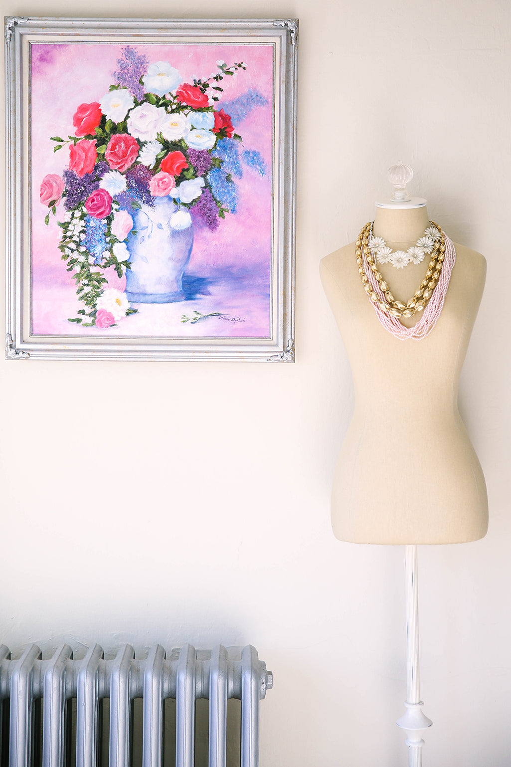 Vintage Bust Form and Floral Painting