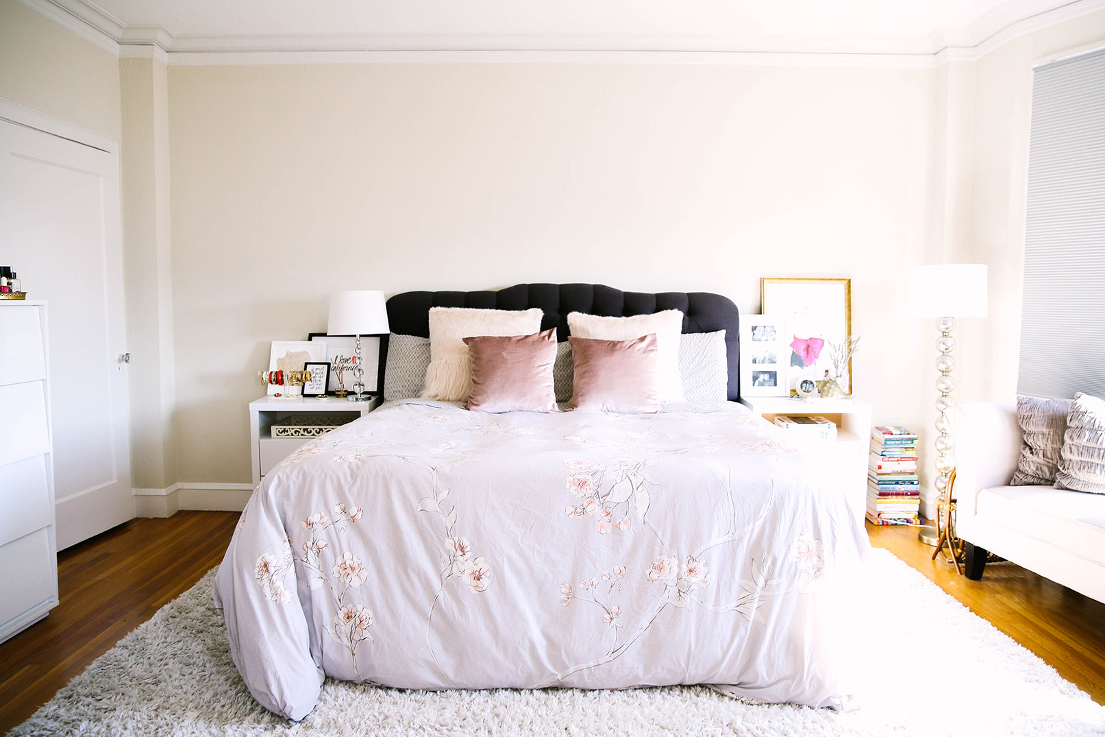 Girly King Bedroom in San Francisco Victorian Apartment