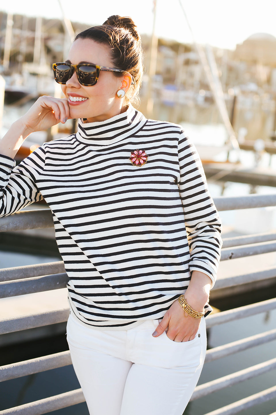 How to wear Stripes and a Rhinestone Brooch