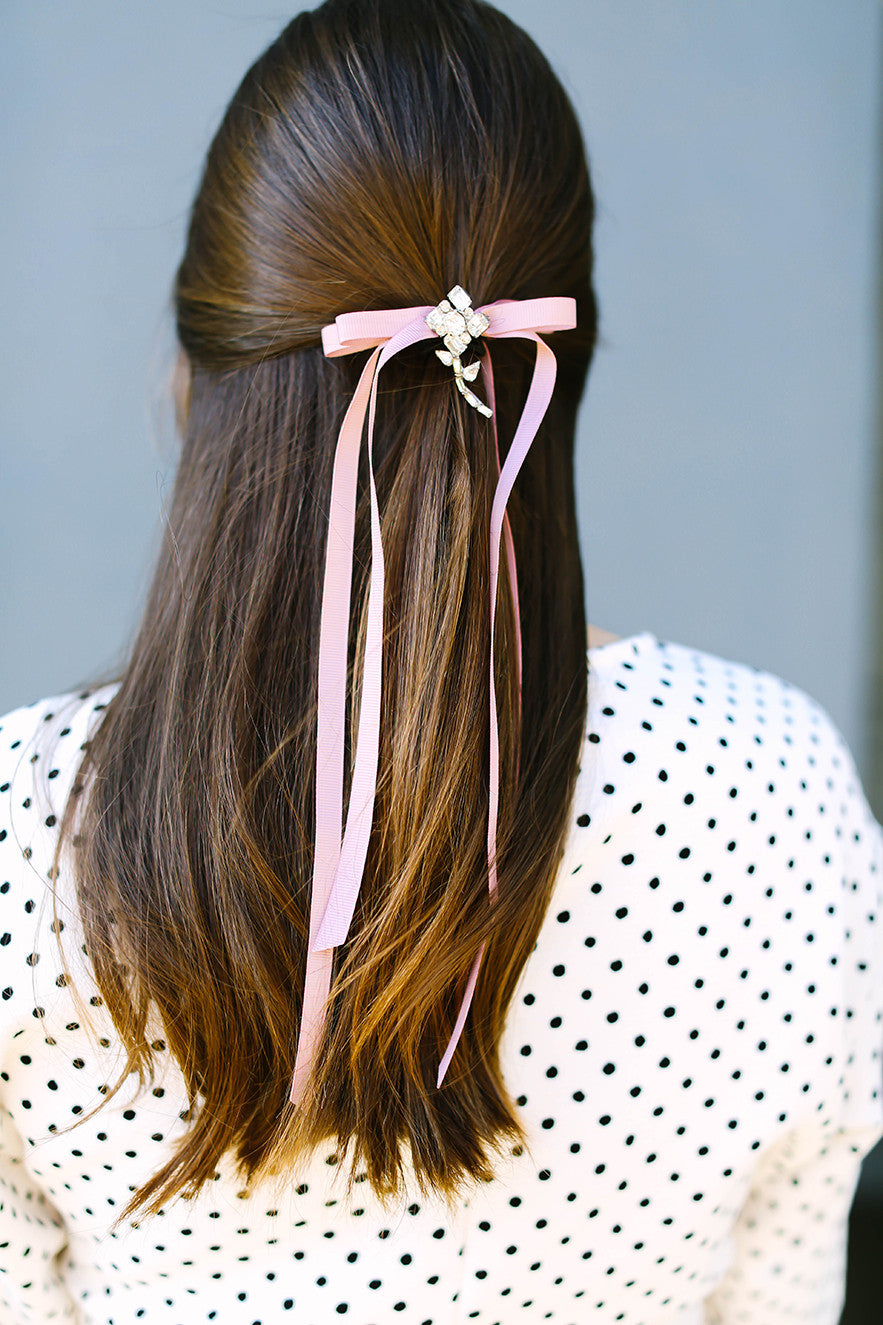 Floral Brooch on Hair Ribbon Bow