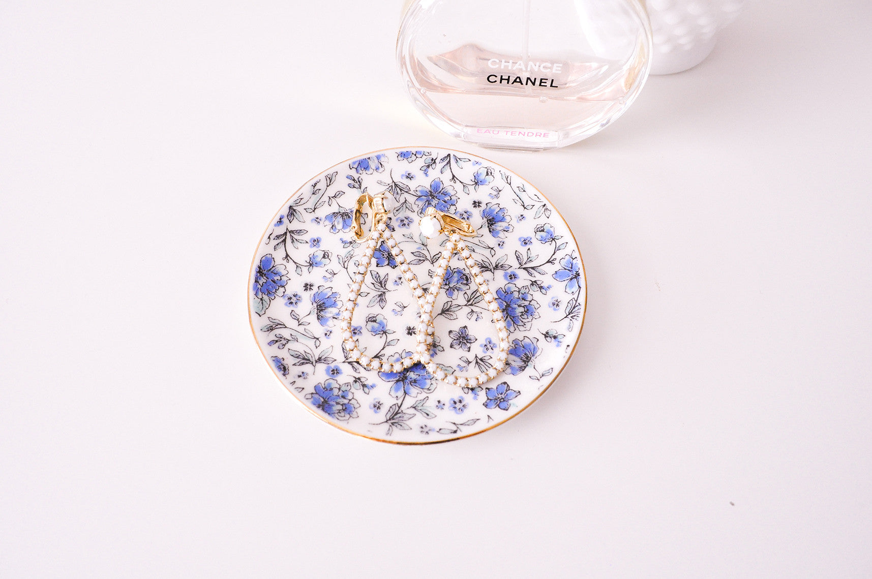 Blue Floral Jewelry Dish