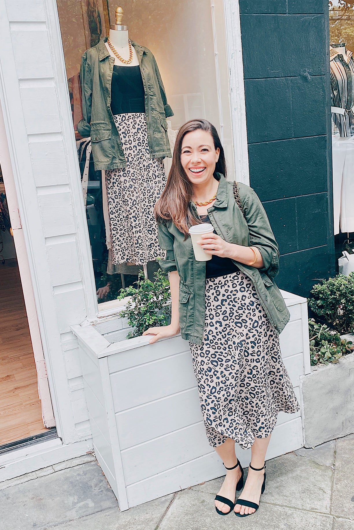 Leopard Midi Skirt and Army Jacket