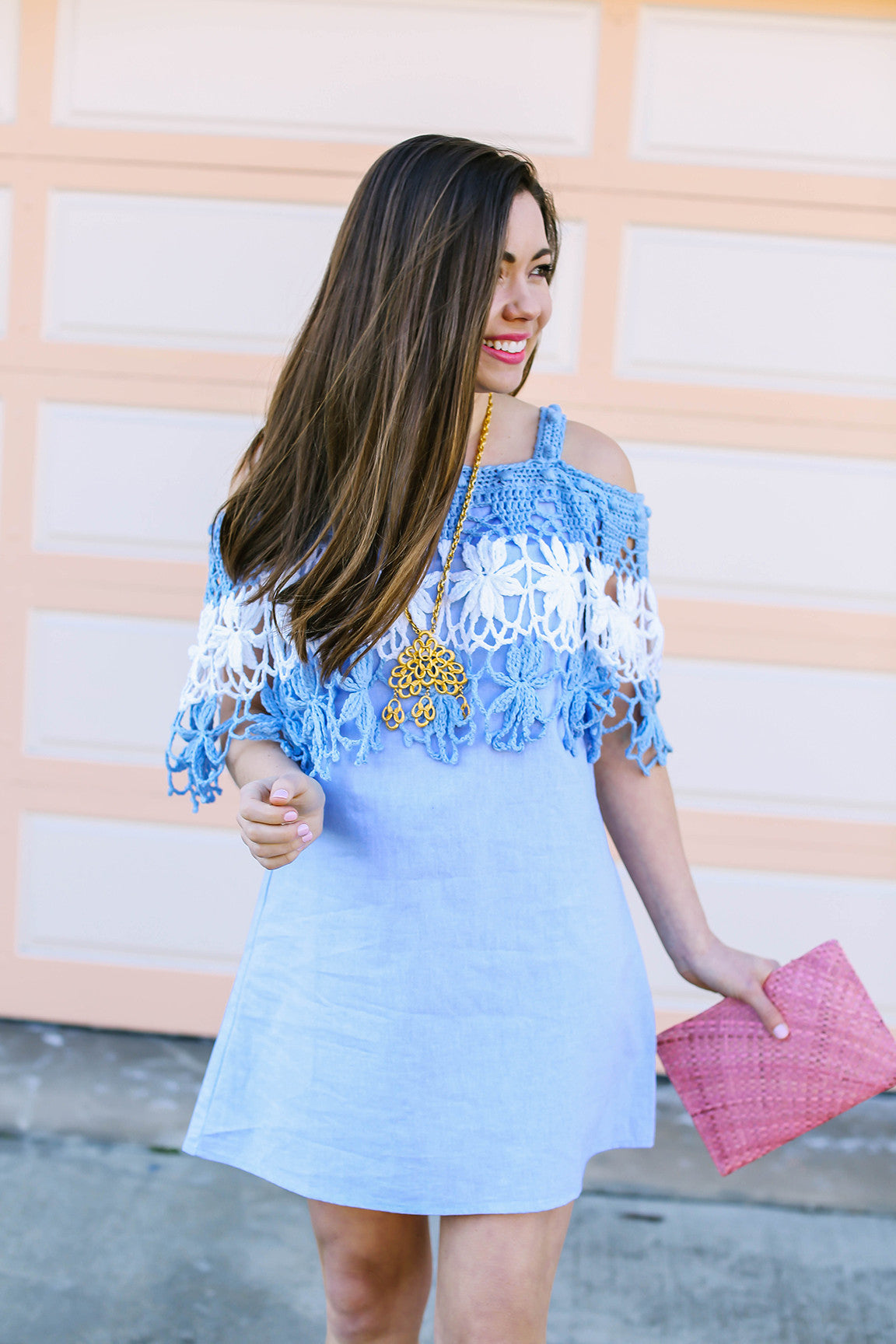 Off shoulder dress and boho pendant necklace