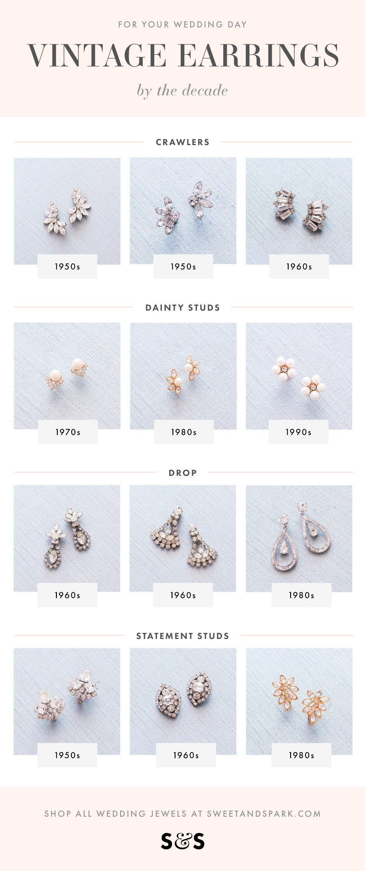 Vintage bridal earrings for your wedding day!
