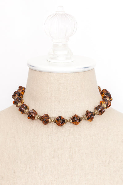 50's__Vintage__Amber Choker Necklace