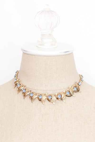 50's__Vintage__Blue Rhinestone Statement Necklace