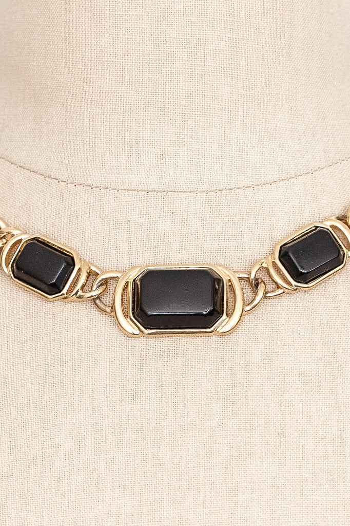 80's__Trifari__Black Linked Necklace