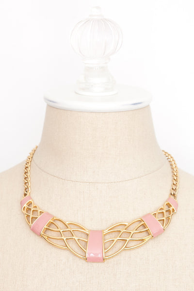 80's__Monet__Pink Bar Necklace