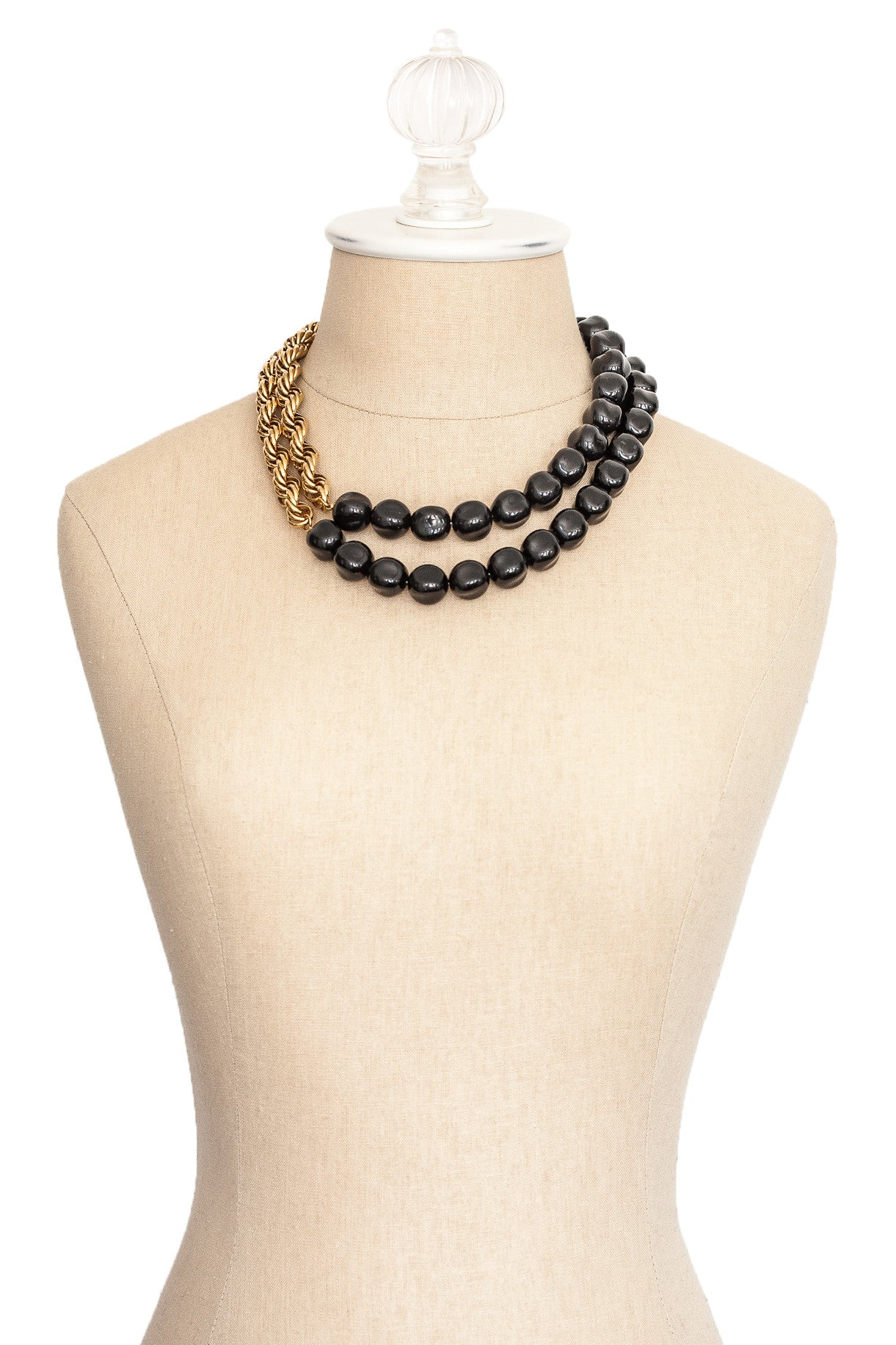 80's__Monet__Black & Gold Statement Necklace