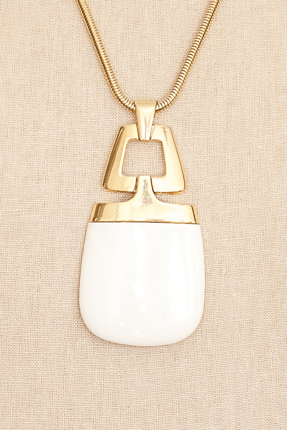 60's__Trifari__Cream Geo Pendant Necklace