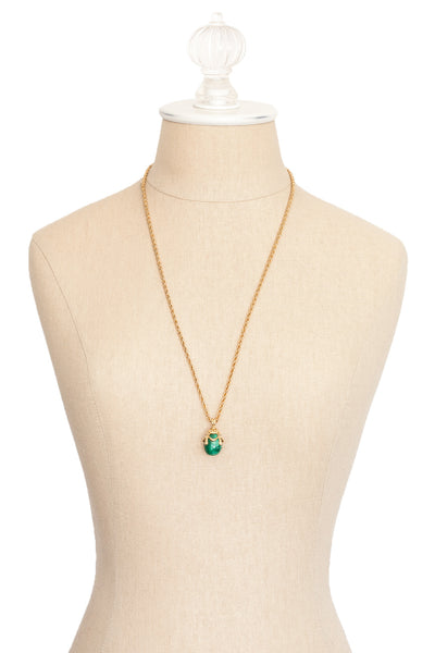 80's__Joan Rivers__Green Egg Drop Necklace