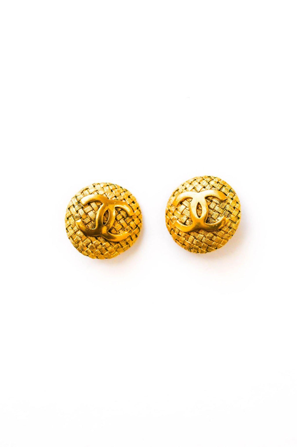 Chanel CC Woven Coin Clip-on Earrings