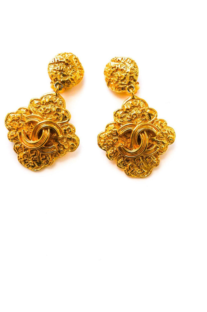 Chanel Clover Drop Clip-on Earrings