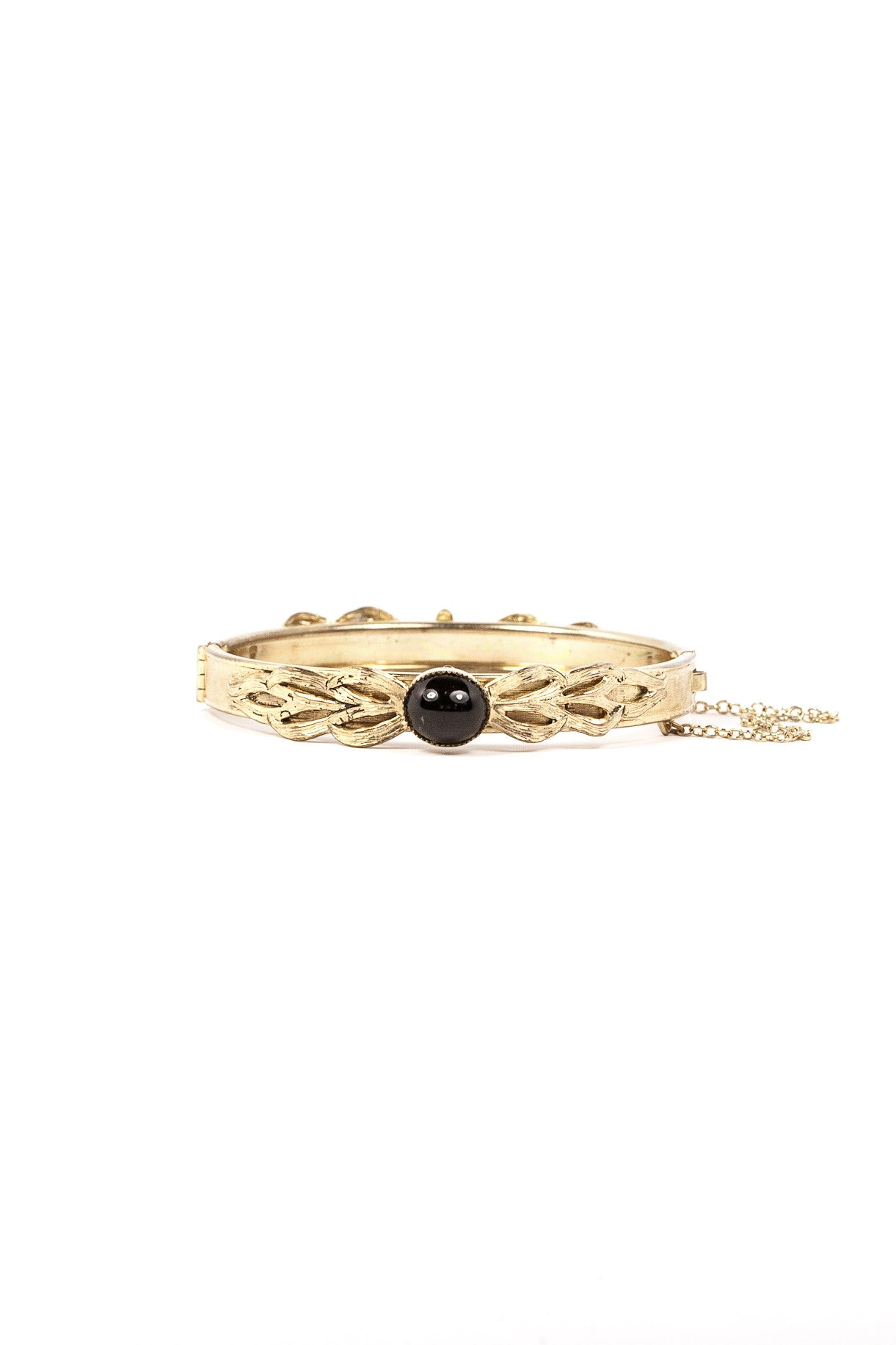 50's__Whiting and Davis__Dainty Onyx Bangle Bracelet