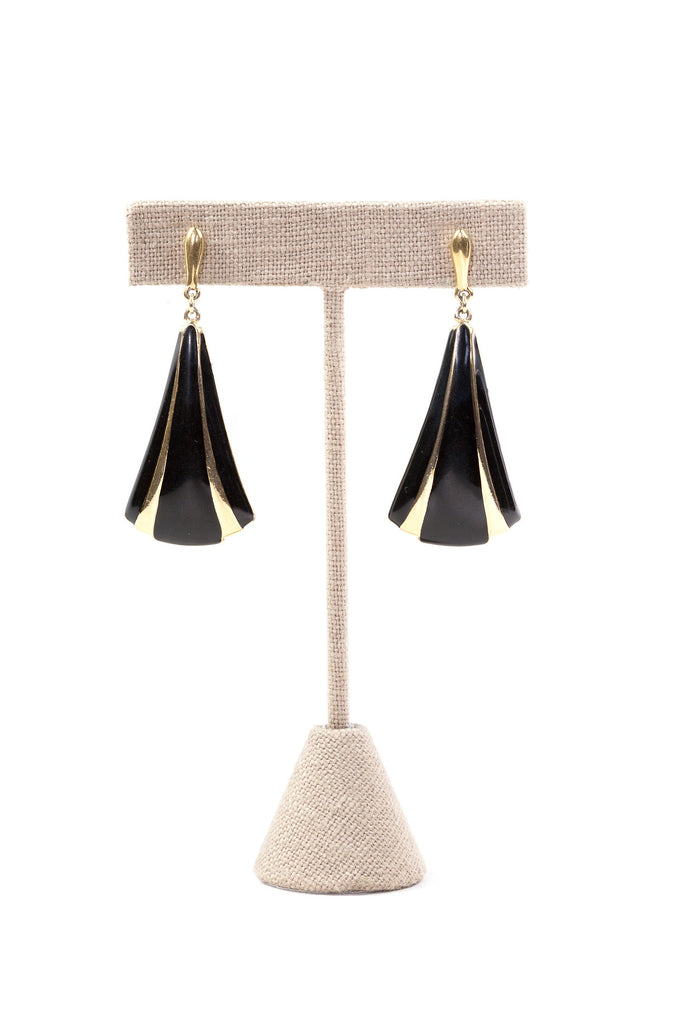80's__Trifari__Black Drop Earrings