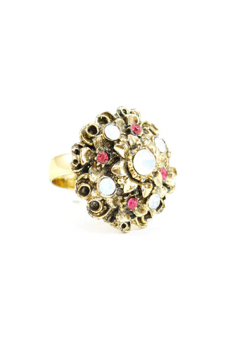 60's__Vintage__Rhinestone and Opal Statement Ring