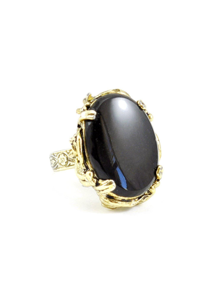 60s__Vintage__Black Onx Cocktail Ring