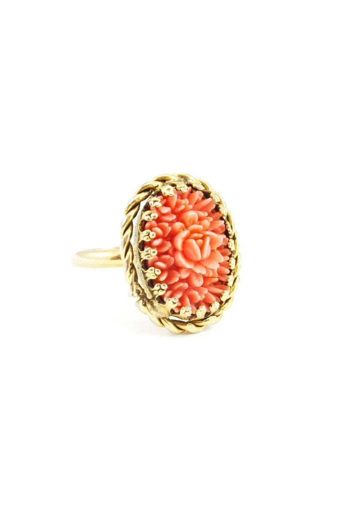 60s__Vintage__Coral Floral Cocktail Ring