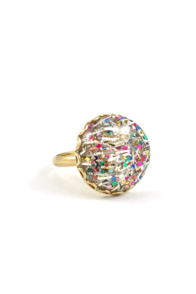 60's__Vintage__Confetti Bauble Ring