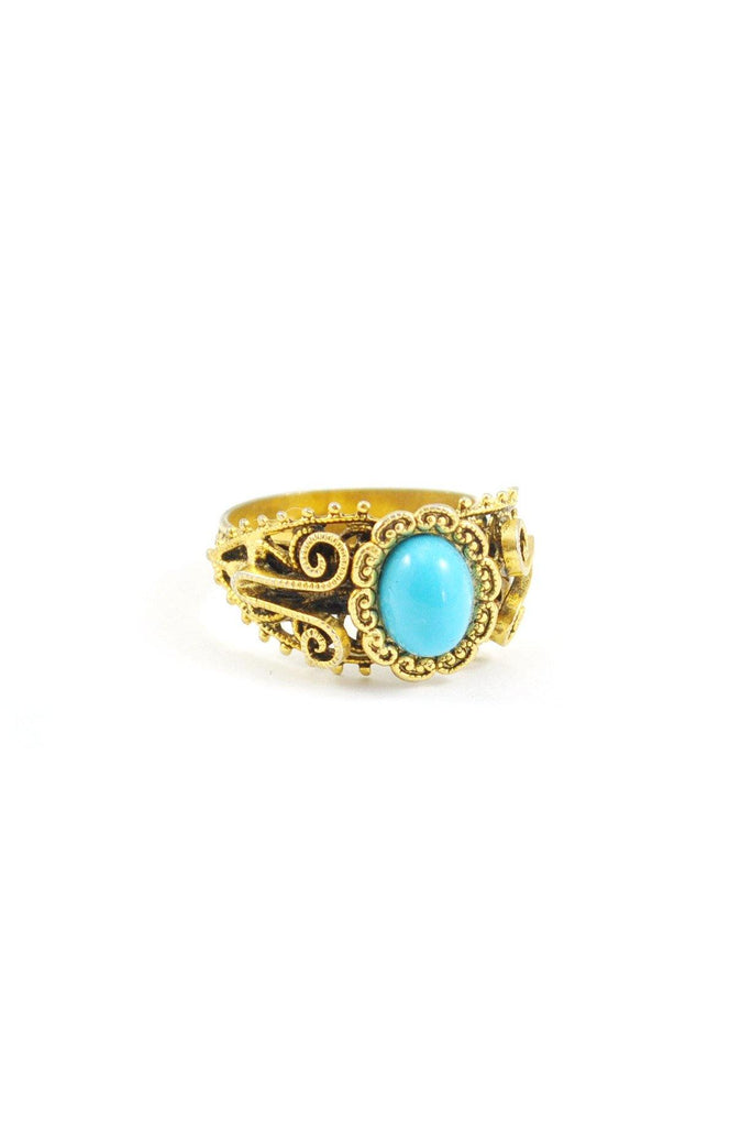 70s__Vintage__Turquoise Filigree Scroll Ring