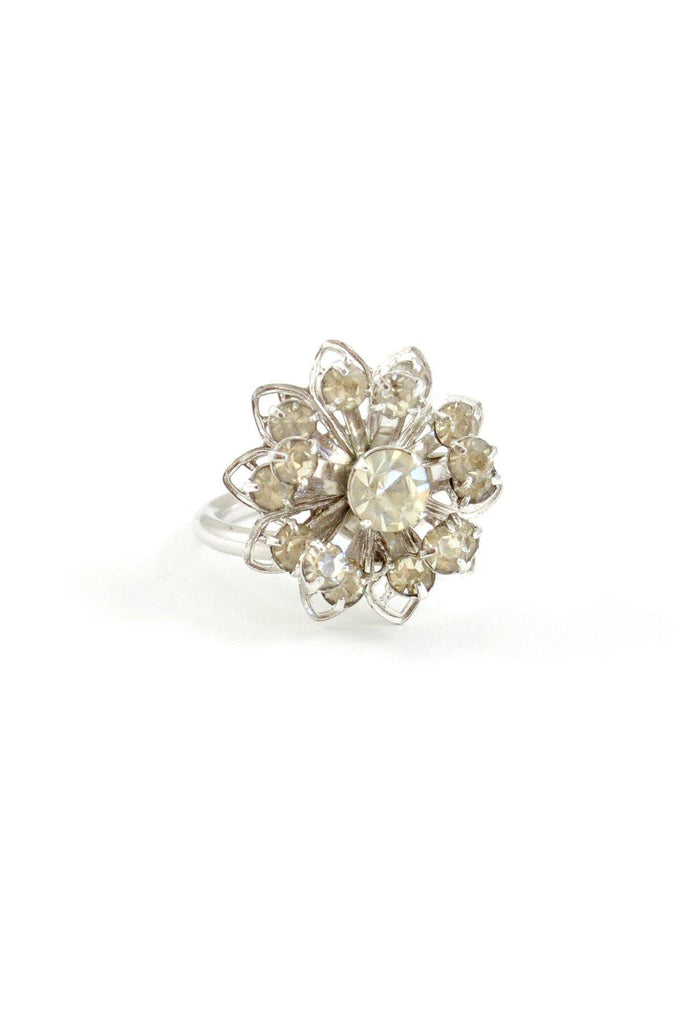 50s__Vintage__Rhinestone Flower Cocktail Ring