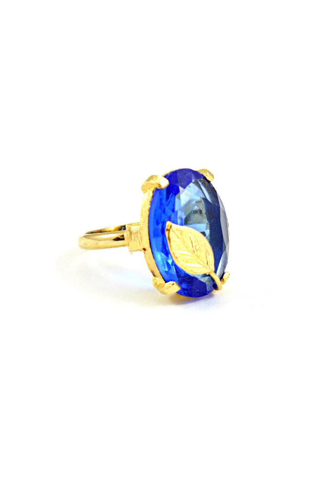 60s__Vintage__Blue Leaf Cocktail Ring