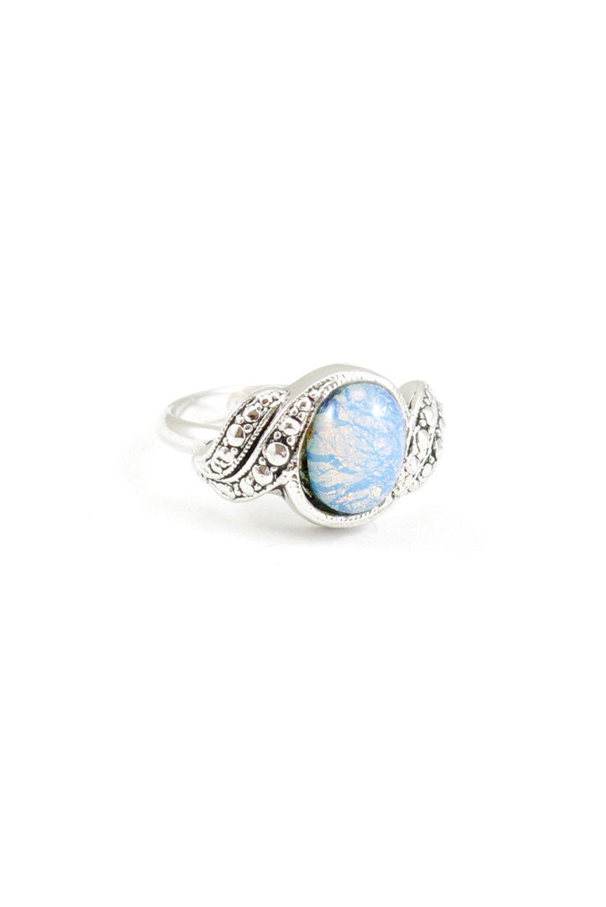 80s__Vintage__Silver Opal Ring