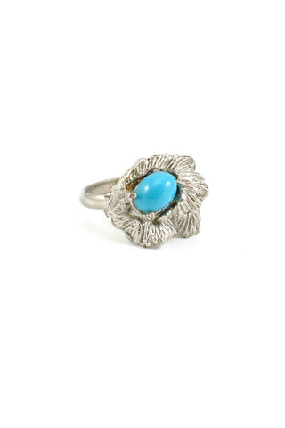 70s__Vintage__Floral Turquoise Ring