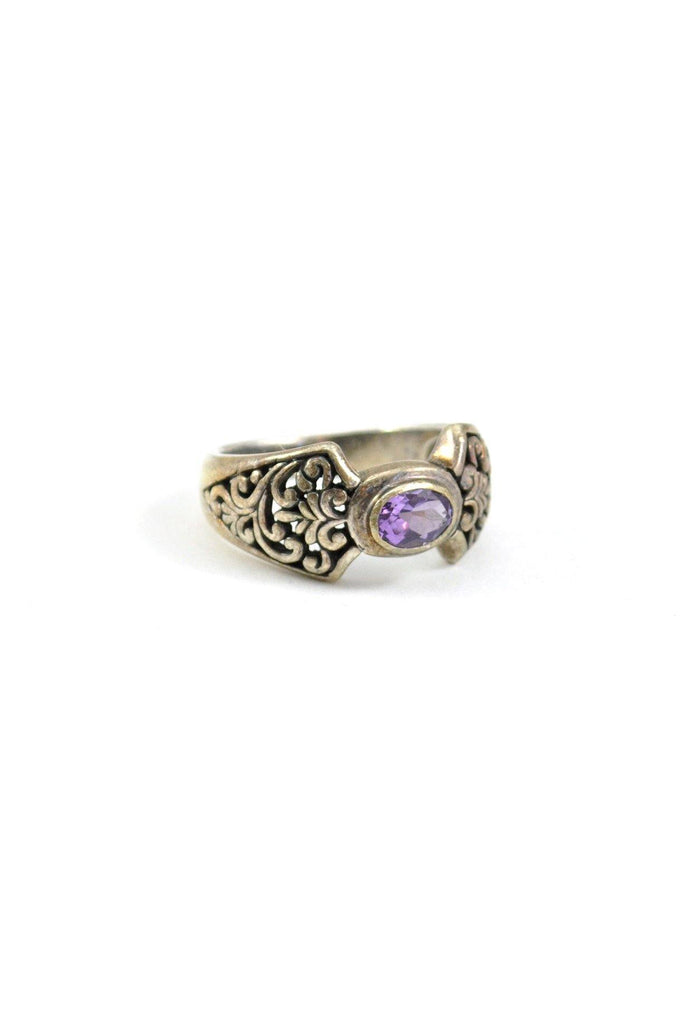80s__Vintage__Silver Amethyst Ring