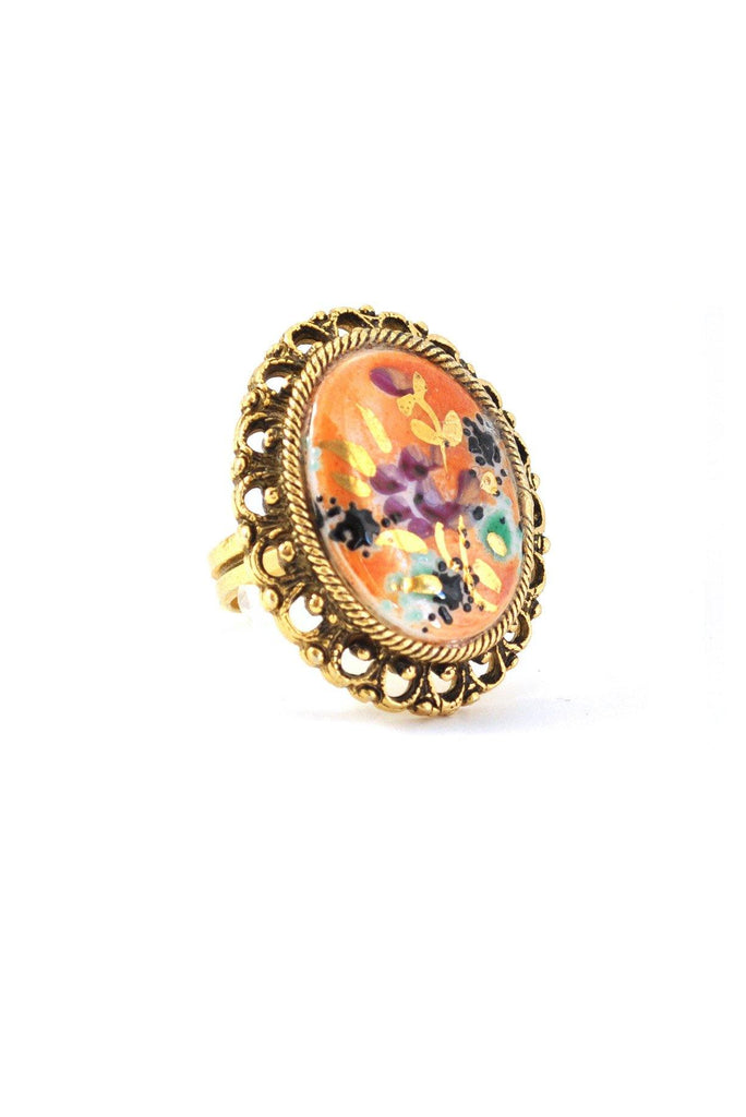 60's__Vintage__Painted Floral Cocktail Ring