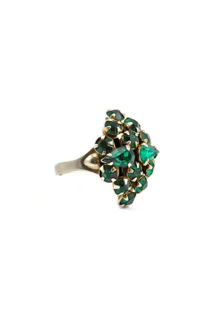 60s__Vintage__Emerald Rhinestone Cocktail Ring